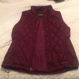 Maroon Eddie Bauer Sleeveless Puffer Jacket